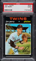 Baseball Cards:Singles (1970-Now), 1971 Topps Jim Perry #500 PSA Mint 9....