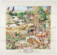 "Hermes 90cm Beige & Green ""Madison Avenue,"" by Kermit Oliver Silk Scarf Good Condition 36"" Width x 36..."