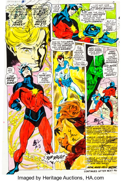Captain Marvel #17 Hand-Painted Color Guide (Marvel, 1969)     | Lot
