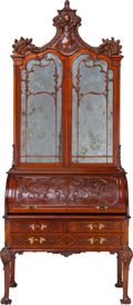 Furniture : French, A Victorian Mahogany Secretary Bookcase, circa 1865. 106 incheshigh x 44 inches wide x 28 inches deep (269.2 x 111.8 x 71.1...(Total: 2 Items)