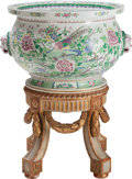 Asian:Chinese, A French Rose Medallion Pattern Porcelain Fishbowl on Carved Baroque-Style Wood Stand. 32-1/2 inches high x 22-1... (Total: 2 Items)