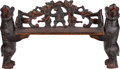 Furniture : Continental, A Black Forest Carved Bench with Bear Uprights, circa 1870. 33inches high x 58-1/2 inches wide x 15-3/4 inches deep (83.8 x...