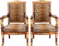 Furniture , A Pair of Empire Upholstered Mahogany Fauteuils with Gilt Bronze Mounts, in the Manner of Georges Jacob, 19th century. 42-1/... (Total: 2 Items)