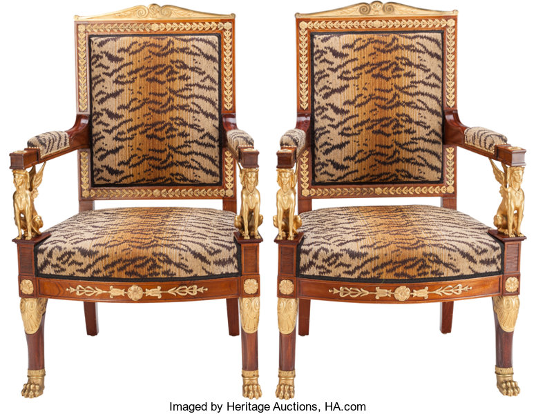 Fauteuil Kind Prenatal.A Pair Of Empire Upholstered Mahogany Fauteuils With Gilt Lot