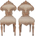 Furniture , A Pair of Italian Painted and Upholstered Side Chairs, mid 19th century. 35 inches high x 17 inches wide x 15 inches deep (8... (Total: 2 Items)