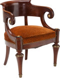 Furniture , An English Regency-Style Upholstered Mahogany and Gilt Bronze Armchair, circa 1920. 30-5/8 inches high x 25-1/4 inches wide ...