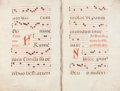 Books:Music & Sheet Music, Sixteenth-Century Antiphonal. Musical Manuscript on Vellum. [Italy:Circa 1575]....