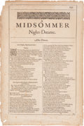 Books:Prints & Leaves, [William Shakespeare]. Title and Text [Single Leaf]. A MidsommerNights Dreame from The Second Folio. London: 1...