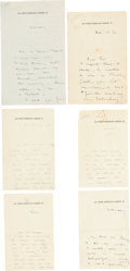 Books:Biography & Memoir, [Max Beerbohm]. Group of Six ALS from Max Beerbohm on UpperBerkeley Street Letterhead. 1900, 1908, and n.d.... (Total: 6Items)