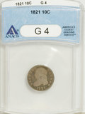 Bust Dimes: , 1821 10C Large Date G4 ANACS. NGC Census: (0/197). PCGS Population(1/170). Mintage: 1,186,512. Numismedia Wsl. Price for N...