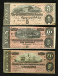 Confederate Notes:1864 Issues, T67 $20 1864 Fine. T68 $10 1864 VF. T69 $5 1864 Fine+.. ... (Total: 3 notes)
