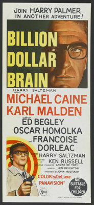 "Billion Dollar Brain (United Artists, 1967). Australian Daybill (13.25"" X 30""). Thriller"