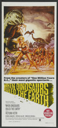 """Movie Posters:Fantasy, When Dinosaurs Ruled the Earth (Warner Brothers, 1970). AustralianDaybill (13"""" X 30""""). Fantasy. ..."""