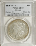 Morgan Dollars: , 1878 7/8TF $1 Strong AU55 PCGS. PCGS Population (19/4480). NGCCensus: (24/2837). Mintage: 544,000. Numismedia Wsl. Price f...