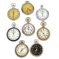 Timepieces:Other , Four Westclox's & Four Stop Watches. ... (Total: 8 Items)