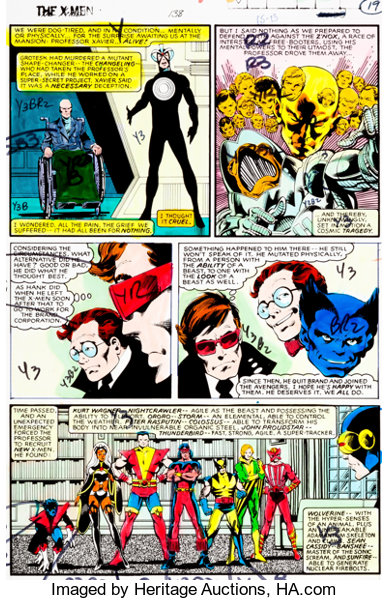 X-Men #138 Page 19 Hand-Painted Color Guide (Marvel, 1980)     | Lot