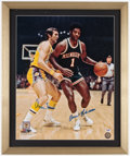 Basketball Collectibles:Photos, Jerry West and Oscar Robertson Signed Oversized Photograph....