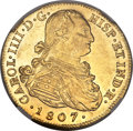 Colombia, Colombia: Charles IV gold 8 Escudos 1807 P-JF MS61 NGC,...