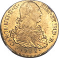 Colombia, Colombia: Charles IV gold 8 Escudos 1791 P-SF AU58 NGC,...