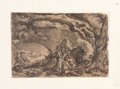 "Books:Prints & Leaves, Jacques de Gheyn II (1565-1629). Large Engraved Print ""Preparationsfor a Witch's Sabbath"", Circa 1610...."