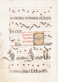 Books:Prints & Leaves, Large Medieval Manuscript Gradual Leaf on Vellum From theSanctus of the Mass Ordinary. [n.p. Spain?], [n.d. cir...