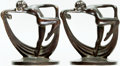 Books:Furniture & Accessories, [Bookends]. Pair of Matching Iron Bookends Depicting Nude Dancerwith Sash. Unsigned, circa 1929. ... (Total: 2 Items)