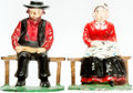 Books:Furniture & Accessories, [Bookends]. Pair of Matching Painted Cast Iron Bookends DepictingAmish Couple. Unsigned, circa 1925. ... (Total: 2 Items)