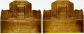 Books:Furniture & Accessories, [Bookends]. [Christian Science]. Pair of Matching Brass Bookends Depicting the Christian Science Building at the 1939 New York... (Total: 2 Items)
