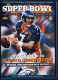 Football Collectibles:Programs, John Elway Signed Hardcover Super Bowl XXXII Program and Two Giants Photographs....