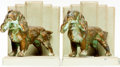 "Books:Furniture & Accessories, [Bookends]. Pair of Matching ""Spunky Spaniel"" Bookends. Brass onpainted grey metal art deco bases. Unsigned, undated, circa...(Total: 2 Items)"
