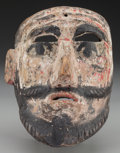 American Indian Art:Wood Sculpture, Spaniard (?) Mask, Mexican. 20th c.. ...