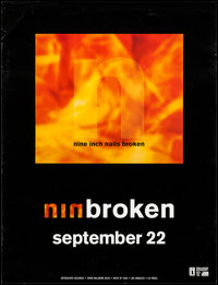"""Nine Inch Nails: Broken (Interscope, 1992). Album Poster (24"""" X 31.25"""") Advance. Rock and Roll"""