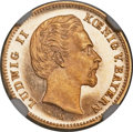 German States:Bavaria, German States: Bavaria. Ludwig II gold Proof 5 Mark 1877-D PR65Ultra Cameo NGC,...