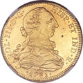 Mexico, Mexico: Charles III gold 8 Escudos 1781 Mo-FF AU Details (ObverseDamage, Test Drill) NGC,...