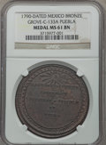 Mexico, Mexico: Charles IV bronze Proclamation Medal 1790 MS61 BrownNGC,...