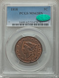 1818 1C MS62 Brown PCGS. CAC. PCGS Population (119/210). NGC Census: (98/201). Mintage: 3,167,000. Numismedia Wsl. Price...