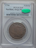 1786 NJERSY New Jersey Copper, Narrow Shield, Straight Plow Beam Fine 15 PCGS. CAC. PCGS Population (3/31). NGC Census:...