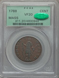 1788 1C Massachusetts Cent, Period, VF20 PCGS. CAC. PCGS Population (30/312). NGC Census: (13/153). From The College C...