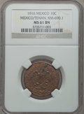Mexico, Mexico: Revolutionary. Tenancingo 10 Centavos 1916 MS61 BrownNGC,...