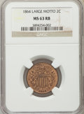 1864 2C Large Motto MS63 Red and Brown NGC. NGC Census: (207/1290). PCGS Population: (686/1653). CDN: $185 Whsle. Bid fo...