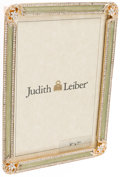 "Luxury Accessories:Accessories, Judith Leiber Gold & Green Enamel and Crystal Picture Frame. Very Good to Excellent Condition. 7.5"" Width x 5.5 Height..."