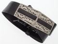 "Luxury Accessories:Accessories, Judith Leiber Black Lizard Belt with Silver Crystal Buckle. GoodCondition. 28"" Length . ..."