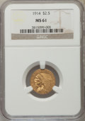 Indian Quarter Eagles: , 1914 $2 1/2 MS61 NGC. NGC Census: (1977/3656). PCGS Population: (481/2374). CDN: $500 Whsle. Bid for NGC/PCGS MS61. Mintage...