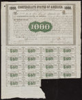 Confederate Notes:Group Lots, Ball 9 Cr. 8 $1000 1861 Bond Fine. . ...