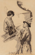 Mainstream Illustration, George Brehm (American, 1878-1966). A Sweet Farewell. Pencilon paper. 18.5 x 12 in. (sight). Signed lower left. ...