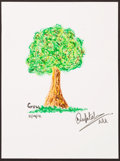 Illustration, Dev Patel. Doodle For Hunger. Crayon on Paper. 12 x 9 inches(30.5 x 22.9 cm). ...