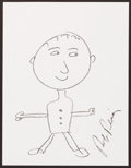 Illustration, Rob Reiner, Actor. Doodles For Hunger. Crayon on Paper. 11 x8-1/2 inches (27.9 x 21.6 cm). ...