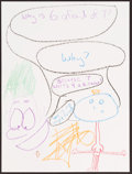 Illustration, Ben Schwartz, Artist. Doodle for Hunger. Crayon on Paper. 12x 9 inches (30.5 x 22.9 cm). ...