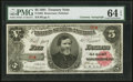 Large Size:Treasury Notes, John Burke Courtesy Autographed Low Serial Number B5* Fr. 362 $5 1891 Treasury Note PMG Choice Uncirculated 64 EPQ.. ...