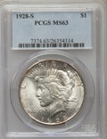 Peace Dollars: , 1928-S $1 MS63 PCGS. PCGS Population (2119/1991). NGC Census: (1334/1307). Mintage: 1,632,000. Numismedia Wsl. Price for pr...